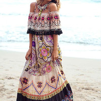 Gypsy Pattern Print Tassel Maxi Dress