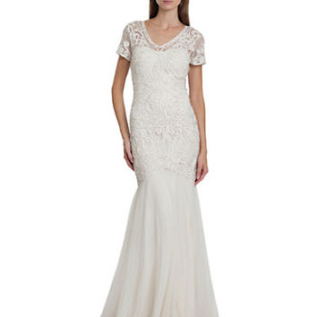 Js Collections Mixed Trim Overlay Gown