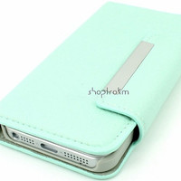 Mint leatherette wallet phone case for Apple iPhone 5 iPhone 4S Galaxy S3 Galaxy Note 2 plain no studs or embellishments