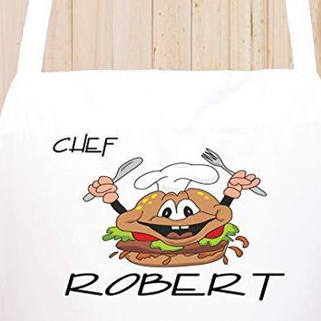 StickerChef Chefs First Name Personalized Chef's Funny Cooking Apron Kitchen, BBQ Grill, Breathable, Machine Washable