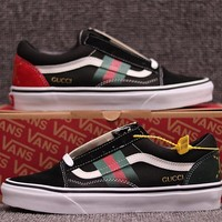 VANS X GUCCI Old Skool Woman Men Canvas Flats Sport Shoes
