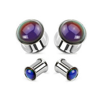 PAIR Steel Mood Stone Tunnels Double Flare Plugs Earlets Gauges