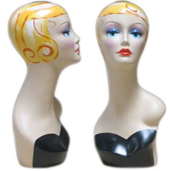 MN-319 Female Mannequin Head Form with Colorful Vintage Style Painted Look