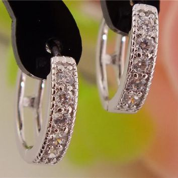 H:HYDE 1pair Silver Color womens Clear Shining CZ Zircon Pretty hoop earrings