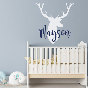 Personalized Deer Antlers Name Wall Decal- Rustic Nursery Decor- Deer Head Wall Decal- Boys Hunting Themed Woodland Nursery Kids Decor #80