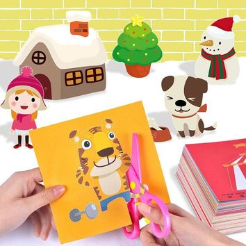 100pcs Kids cartoon  fun  color paper folding and cutting toys kingergarden art craft DIY Handmade Animal Plants Origami