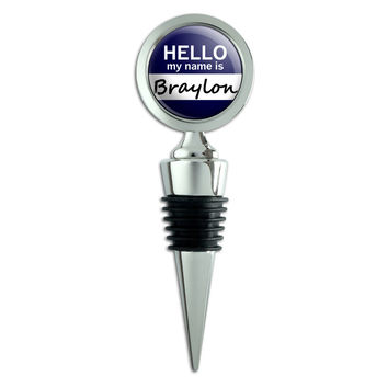 Braylon Hello My Name Is Wine Bottle Stopper