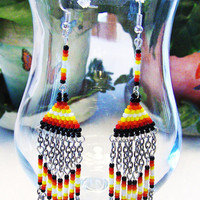 Hand Beaded Southwestern Style Dangle Earrings In Fire Colors With Silver Tone Chains