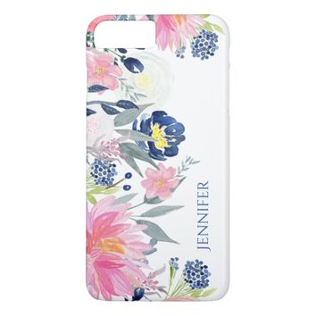 Navy Blue and Pink Watercolor Flowers iPhone 7 Plus Case