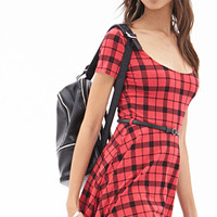 FOREVER 21 Plaid Fit & Flare Dress Red/Black