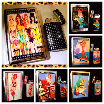 Pin Up Girl Rhinestone Crystal Bling Cigarette Case (Fits 100's) & Lighter