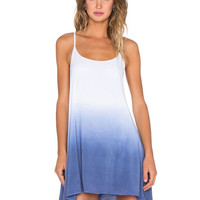 Blue Tie-dye Spaghetti Strap Summer Dress