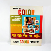 1960's Kodak Film Dealer Sales Advertisement Sign 19 x 24