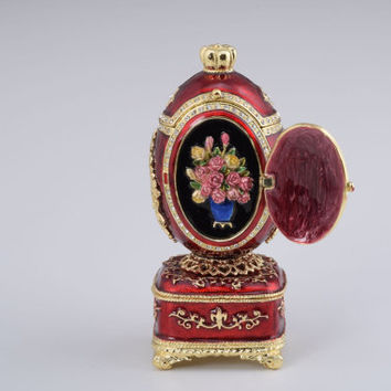 Red Royal Faberge Egg Handmade Trinket Box by Keren Kopal Decorated with Swarovski Crystals