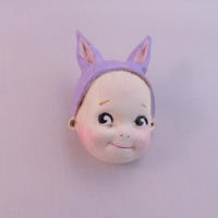 Dottie's Doll Face Brooch Cutie the Kewpie Bunny - Paperclay Rabbit Doll Pin