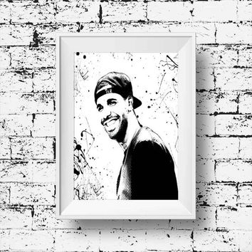 Drake Print Drake Poster Drake Rapper Music Art Wall Art Decor