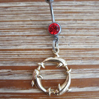 Belly Button Ring - Body Jewelry - Circle of Gold Swimming Dolphins with Red Gem Belly Button Ring