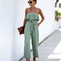 Acres Of Olive Strapless Pocketed Jumpsuit