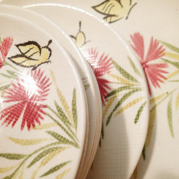 Redwing  Dinnerware Pottery Pink Spice, 11 piece set pink flowers and butterflies  Vintage Mid Century 1950's