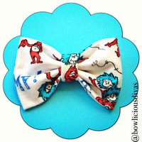 Dr. Seuss Thing1 and Thing2  print handmade fabric bow tie or hair bow