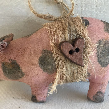 Primitive Pig Ornaments - Primitive Christmas Ornaments - Pink Spotted Pig Ornament