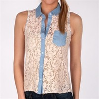 Miss Chievous Juniors Lace Tank with Chambray Trim at Von Maur