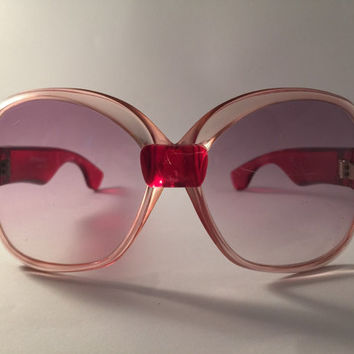 YSL!!! Vintage 1970s 'Yves Saint Laurent' oversized ruby and pink champagne framed sunglasses / France