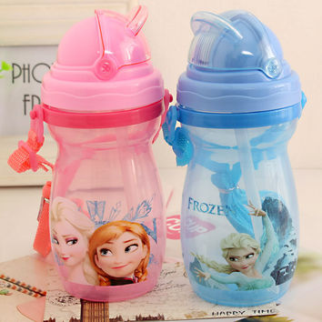 Anna Elsa Lovely My Water Bottle Bpa Free With straw Children Cup Princess Print Cartoon Tumbler with Straw Cute Gift for Child
