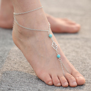 Fashion Women Bohemia Stone Multilayer Chain Anklet Toe Bracelet Foot Jewelry For Women