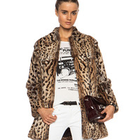 Blazer Fur Coat in Leopard