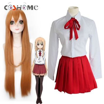 Coshome Doma Himouto Umaru Wigs Cosplay Costumes School Girls Uniforms Women Dress+Shirts +Tie 3PC/Sset