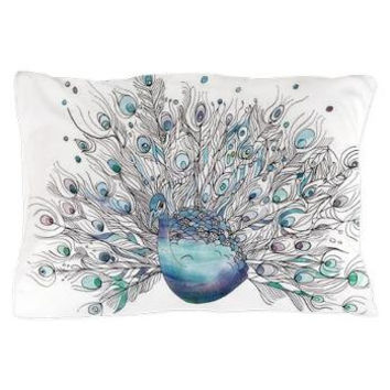 "Peacock Pillow case - watercolor and ink ""Glory Days"" peacock  purple, blue, teal bedroom decor, art, curate the bedroom"