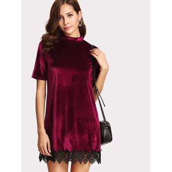 Velvet Laced Dress - Burgundy