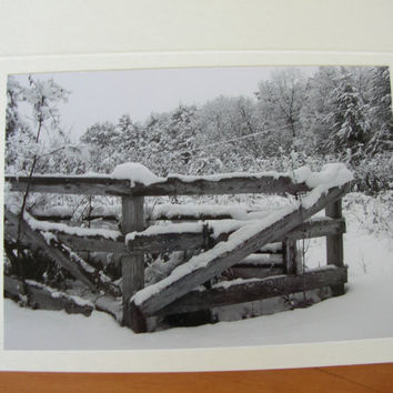 "Photo Note Cards - Set of 6 - Series ""Winter Snow"" Black and White"