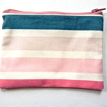 Zipped Lined Pouch Denim and Pink Ombre Stripes  - Cosmetics Bag - Small Clutch - Women's Spring Gift - Bag Organiser - Make up Bag