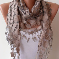 Light Brown Lace Shawl / Scarf with Lace Edge by SwedishShop