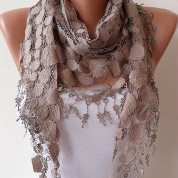 Light Brown Polka Dot Tulle Scarf