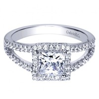 14K White Gold 1.32cttw Princess Cut Halo Split Shank Diamond Engagement Ring