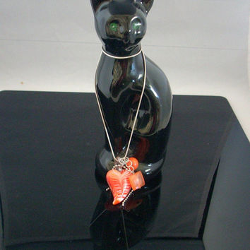 "SUNRISE - Glass Lampwork Heart Beaded Pendant  Necklace With Charms, Suspended from a 16"" Sterling Silver Snake Chain."