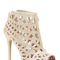 Rose Gold Faux Nubuck Geometric Cut Out Heels