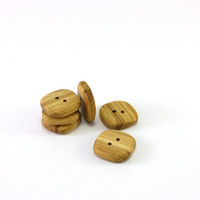 Square wooden buttons - Set of 6 rustic oak wood buttons - 0.8in (20mm) - Natural wood buttons - Handmade craft supplie (O3270)