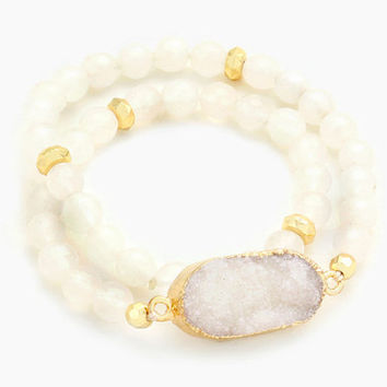 Gold & White Druzy Stone Accented Natural Stone Bead Strand Wrap Stretch Bracelet