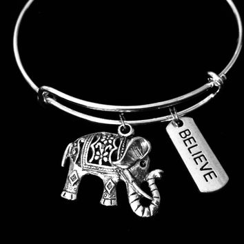 Believe Elephant Jewelry Expandable Charm Bracelet Adjustable Silver Bangle Inspirational Gift One Size Fits All