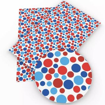 06cba464427 Red white   blue polka dot 4th of July faux leather fabric sheet