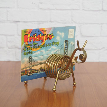 Vintage Animal Brass Coiled Letter Holder, Pen Holder, Bill Organizer, Office or Desk Storage