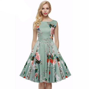 S - 4XL Women Dress Retro Vintage 1950s 60s Rockabilly Floral Swing Summer Dresses Elegant Bow-knot Tunic Vestidos