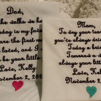 Lacy Mom and Striped Dad Personalized Wedding Handkerchief. Gift for the Mother and Father of the Bride FREE Sparkling Gift Envelope.
