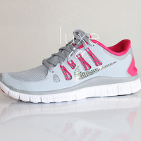 NIKE run free 5.0 running shoes w/Swarovski Crystals detail - Pink / Grey