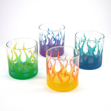 Tribal Flames Lowball Tumblers - Etched and Painted Glassware - Custom Glass Barware