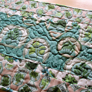 Blue Green Table Runner , Table Runner With Herbs , Country Kitchen Table Topper